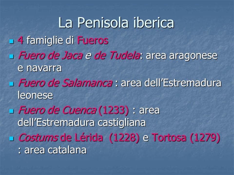La Penisola iberica 4 famiglie di Fueros 4 famiglie di Fueros Fuero de Jaca e de Tudela: area aragonese e navarra Fuero de Jaca e de Tudela: area arag