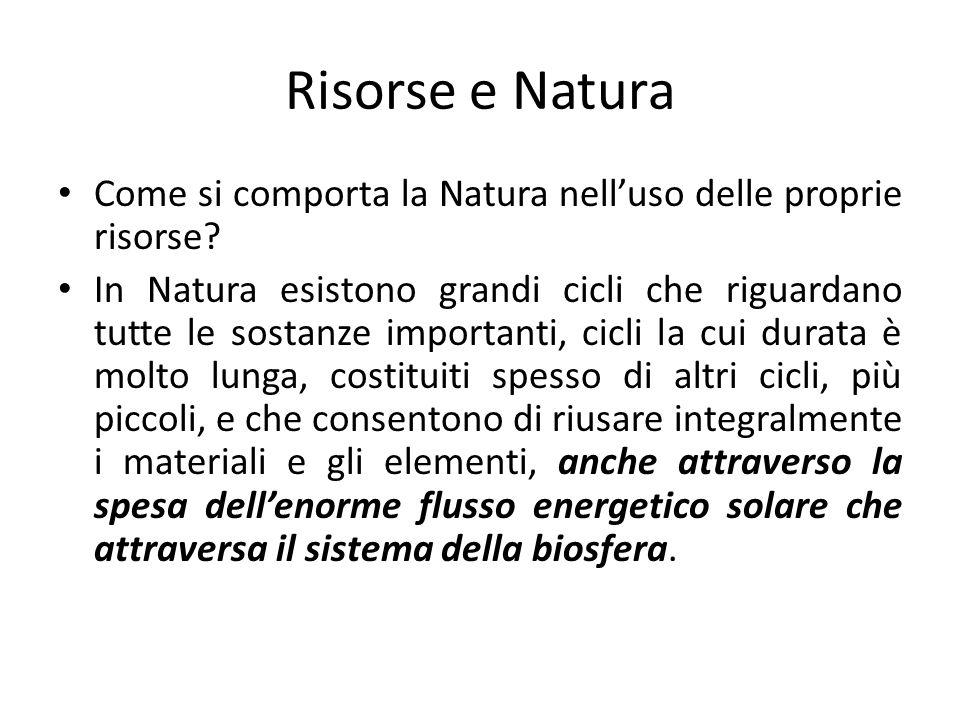 Risorse e Natura Come si comporta la Natura nelluso delle proprie risorse? In Natura esistono grandi cicli che riguardano tutte le sostanze importanti