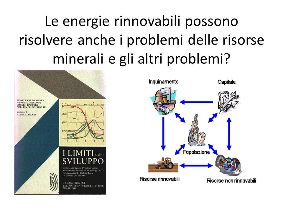 Le energie rinnovabili possono risolvere anche i problemi delle risorse minerali e gli altri problemi?