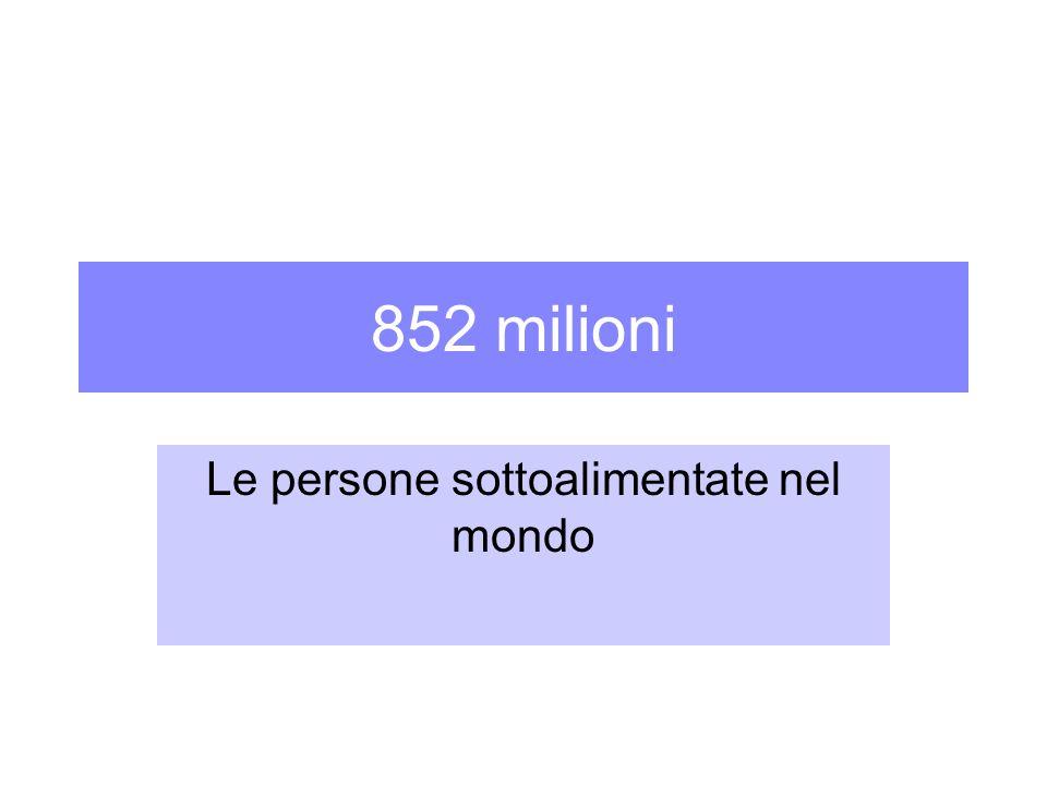 852 milioni Le persone sottoalimentate nel mondo