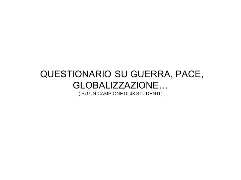 QUESTIONARIO SU GUERRA, PACE, GLOBALIZZAZIONE… ( SU UN CAMPIONE DI 48 STUDENTI )
