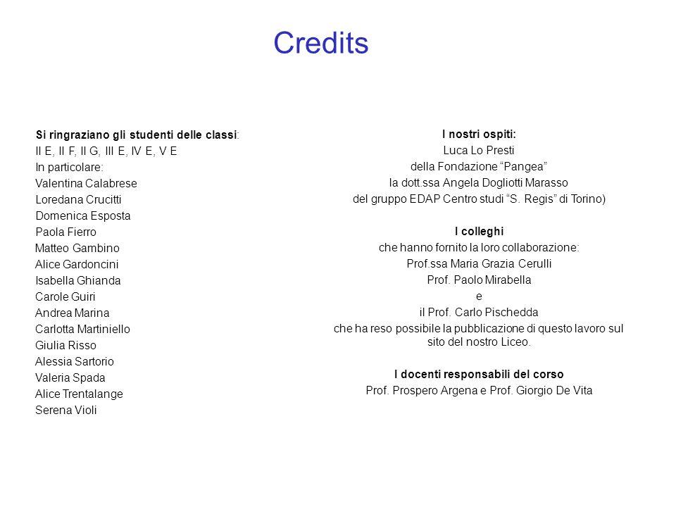 Credits I nostri ospiti: Luca Lo Presti della Fondazione Pangea la dott.ssa Angela Dogliotti Marasso del gruppo EDAP Centro studi S. Regis di Torino)
