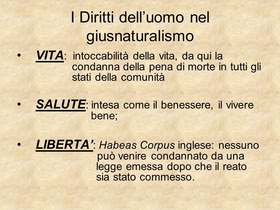 I Diritti delluomo nel giusnaturalismo VITA : intoccabilità della vita, da qui la condanna della pena di morte in tutti gli stati della comunità SALUT