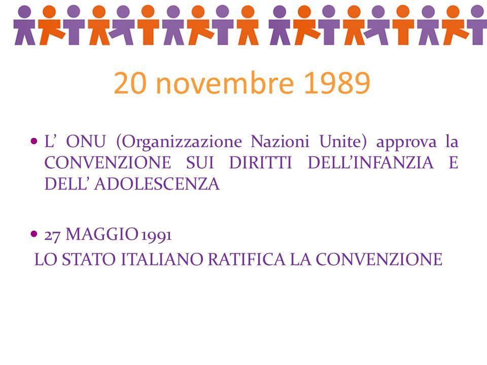 20 novembre 1989 L ONU (Organizzazione Nazioni Unite) approva la CONVENZIONE SUI DIRITTI DELLINFANZIA E DELL ADOLESCENZA 27 MAGGIO 1991 LO STATO ITALIANO RATIFICA LA CONVENZIONE