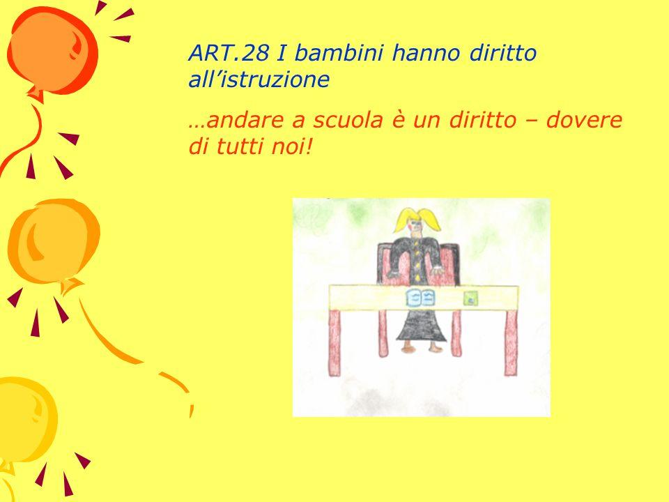 ART.28 I bambini hanno diritto allistruzione …andare a scuola è un diritto – dovere di tutti noi!