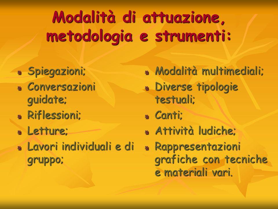Modalità di attuazione, metodologia e strumenti: Spiegazioni; Conversazioni guidate; Riflessioni;Letture; Lavori individuali e di gruppo; Modalità mul