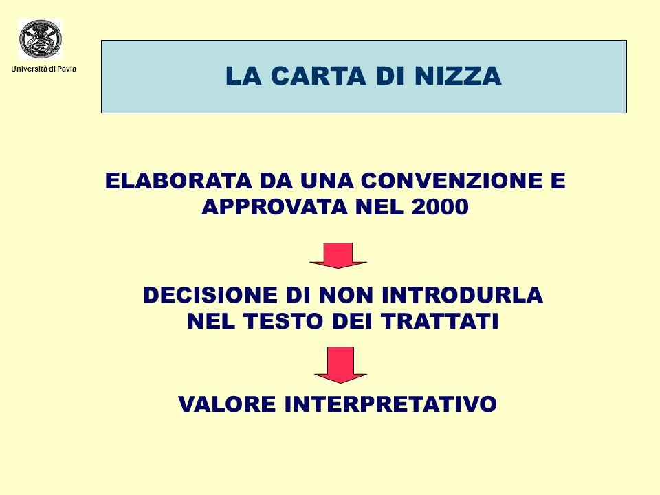 Università di Pavia LA CARTA DI NIZZA ELABORATA DA UNA CONVENZIONE E APPROVATA NEL 2000 DECISIONE DI NON INTRODURLA NEL TESTO DEI TRATTATI VALORE INTE
