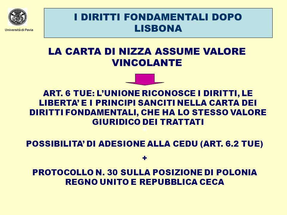 Università di Pavia I DIRITTI FONDAMENTALI DOPO LISBONA LA CARTA DI NIZZA ASSUME VALORE VINCOLANTE ART. 6 TUE: LUNIONE RICONOSCE I DIRITTI, LE LIBERTA