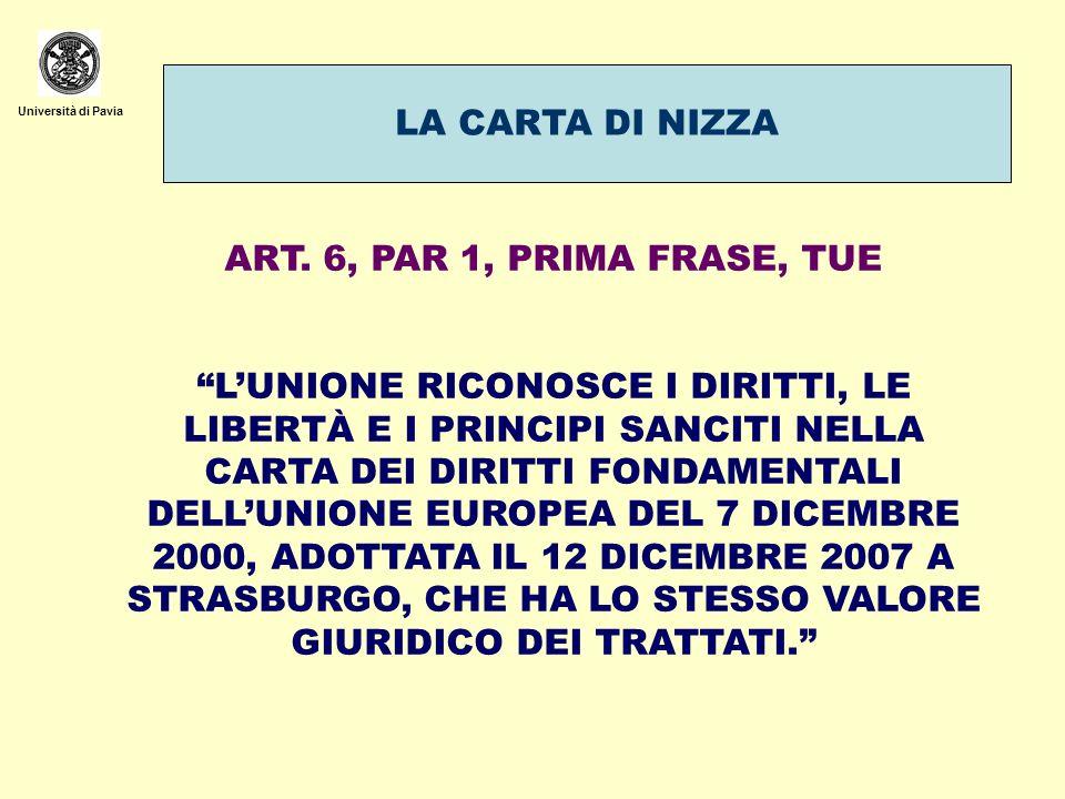 Università di Pavia LA CARTA DI NIZZA ART. 6, PAR 1, PRIMA FRASE, TUE LUNIONE RICONOSCE I DIRITTI, LE LIBERTÀ E I PRINCIPI SANCITI NELLA CARTA DEI DIR