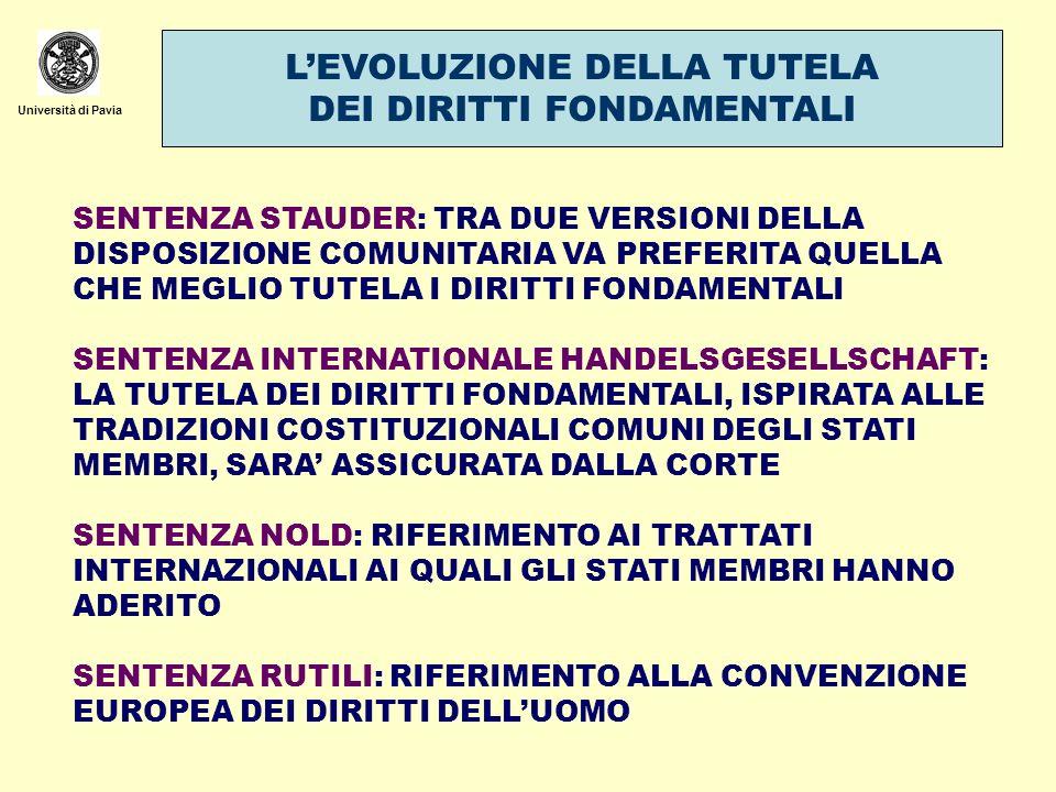 Università di Pavia LA POSIZIONE DELLE CORTI COSTITUZIONALI ITALIANA E TEDESCA SENTENZA FRONTINI (1973): IN CASO DI VIOLAZIONE: DICHIARAZIONE DI ILLEGITTIMITA COSTITUZIONALE DELLORDINE DI ESECUZIONE SENTENZA SOLANGE I (1974): FINTANTOCHE IL PROCESSO DI INTEGRAZIONE NON SARA TANTO AVANZATO DA PREVEDERE UN CATALOGO DI DIRITTI FONDAMENTALI, IN CASO DI VIOLAZIONE DI QUESTI LA CORTE SI RISERVA DI DICHIARARE LATTO COMUNITARIO COSTITUZIONALMENTE ILLEGITTIMO