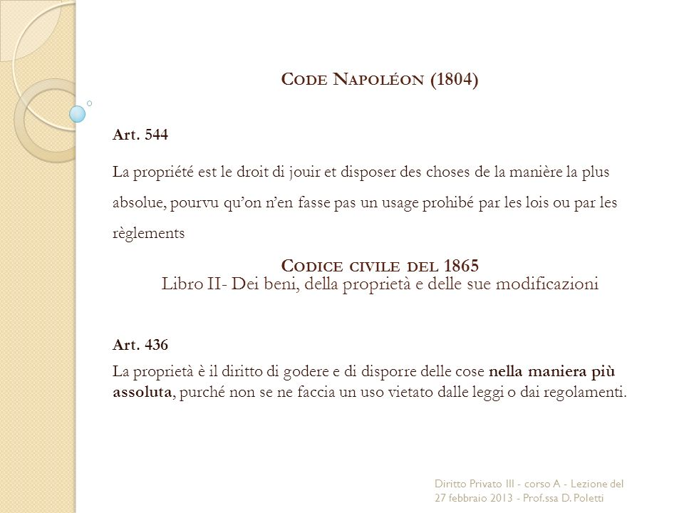 C ODE N APOLÉON (1804) Art.