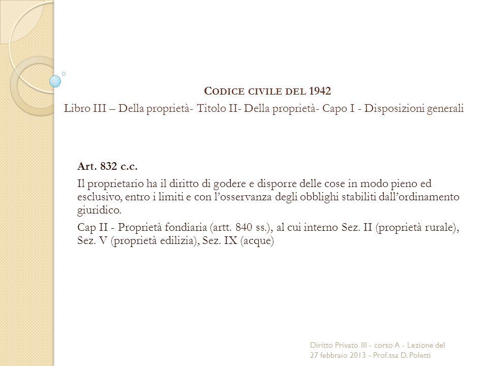 C ODICE CIVILE DEL 1942 Libro III – Della proprietà- Titolo II- Della proprietà- Capo I - Disposizioni generali Art.