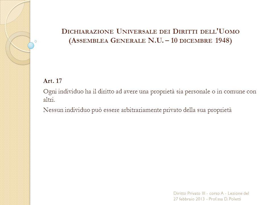 D ICHIARAZIONE U NIVERSALE DEI D IRITTI DELL U OMO (A SSEMBLEA G ENERALE N.U.