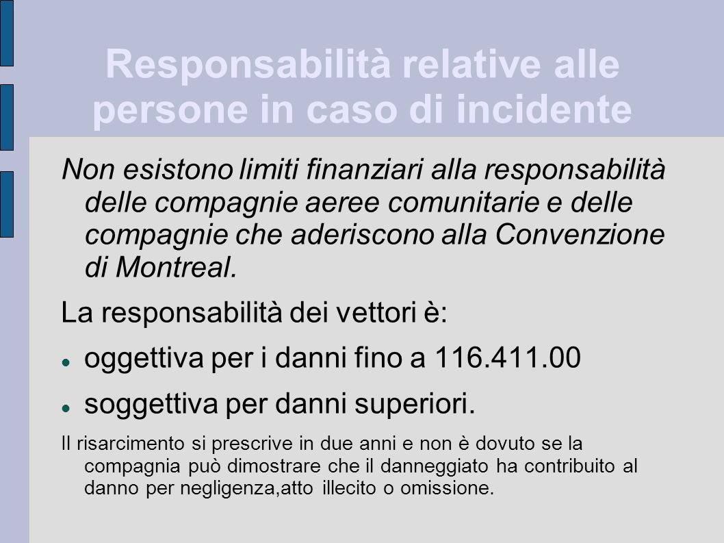 Responsabilità relative alle persone in caso di incidente Non esistono limiti finanziari alla responsabilità delle compagnie aeree comunitarie e delle