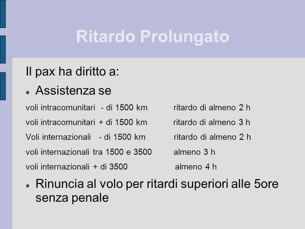 Ritardo Prolungato Il pax ha diritto a: Assistenza se voli intracomunitari - di 1500 km ritardo di almeno 2 h voli intracomunitari + di 1500 km ritard