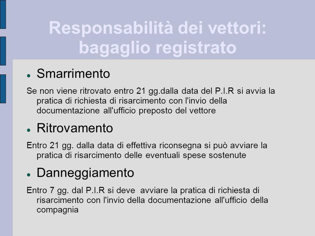Responsabilità dei vettori: bagaglio registrato Smarrimento Se non viene ritrovato entro 21 gg.dalla data del P.I.R si avvia la pratica di richiesta d
