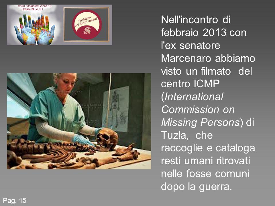 Pag. 15 Nell'incontro di febbraio 2013 con l'ex senatore Marcenaro abbiamo visto un filmato del centro ICMP (International Commission on Missing Perso