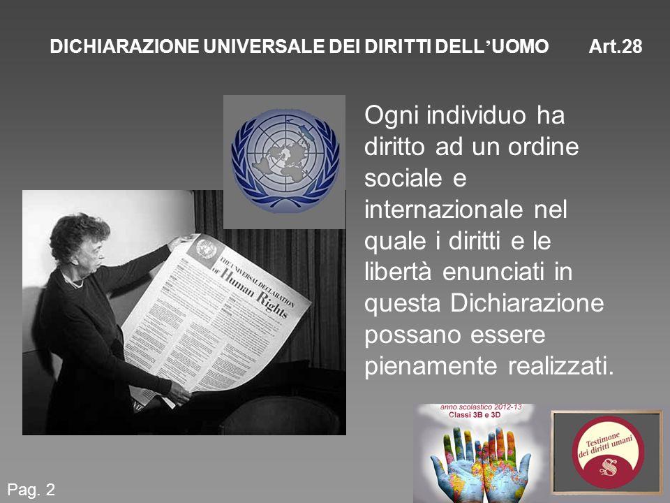 DICHIARAZIONE UNIVERSALE DEI DIRITTI DELL UOMO Art.28 Pag. 2 Ogni individuo ha diritto ad un ordine sociale e internazionale nel quale i diritti e le