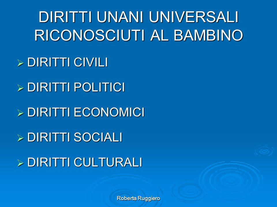 Roberta Ruggiero DIRITTI UNANI UNIVERSALI RICONOSCIUTI AL BAMBINO DIRITTI CIVILI DIRITTI CIVILI DIRITTI POLITICI DIRITTI POLITICI DIRITTI ECONOMICI DI