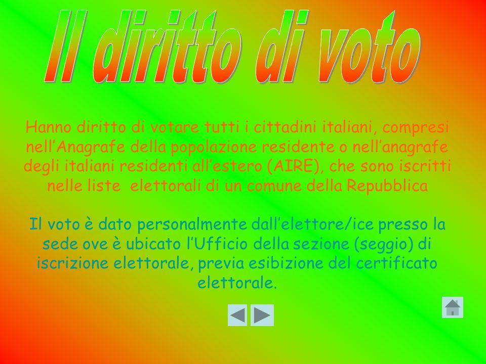 Hanno diritto di votare tutti i cittadini italiani, compresi nellAnagrafe della popolazione residente o nellanagrafe degli italiani residenti allester