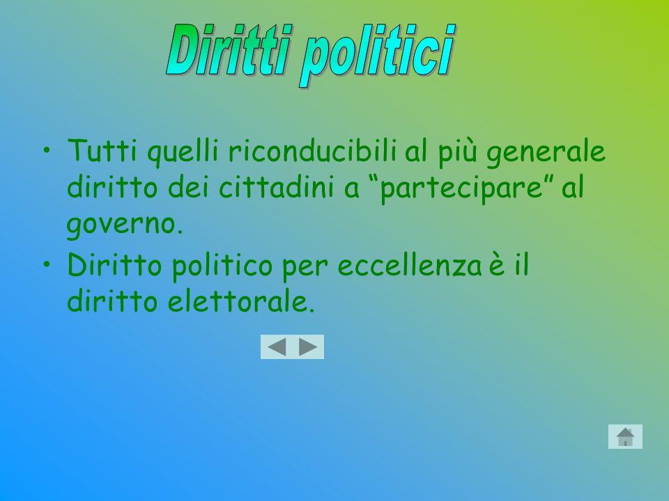 Tutti quelli riconducibili al più generale diritto dei cittadini a partecipare al governo. Diritto politico per eccellenza è il diritto elettorale.