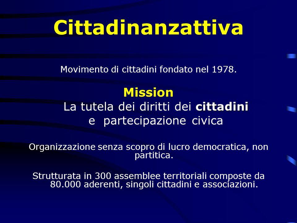 Cittadinanzattiva Movimento di cittadini fondato nel 1978. Mission cittadini La tutela dei diritti dei cittadini e partecipazione civica Organizzazion