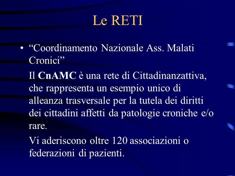 Le RETI Coordinamento Nazionale Ass. Malati Cronici Il CnAMC è una rete di Cittadinanzattiva, che rappresenta un esempio unico di alleanza trasversale