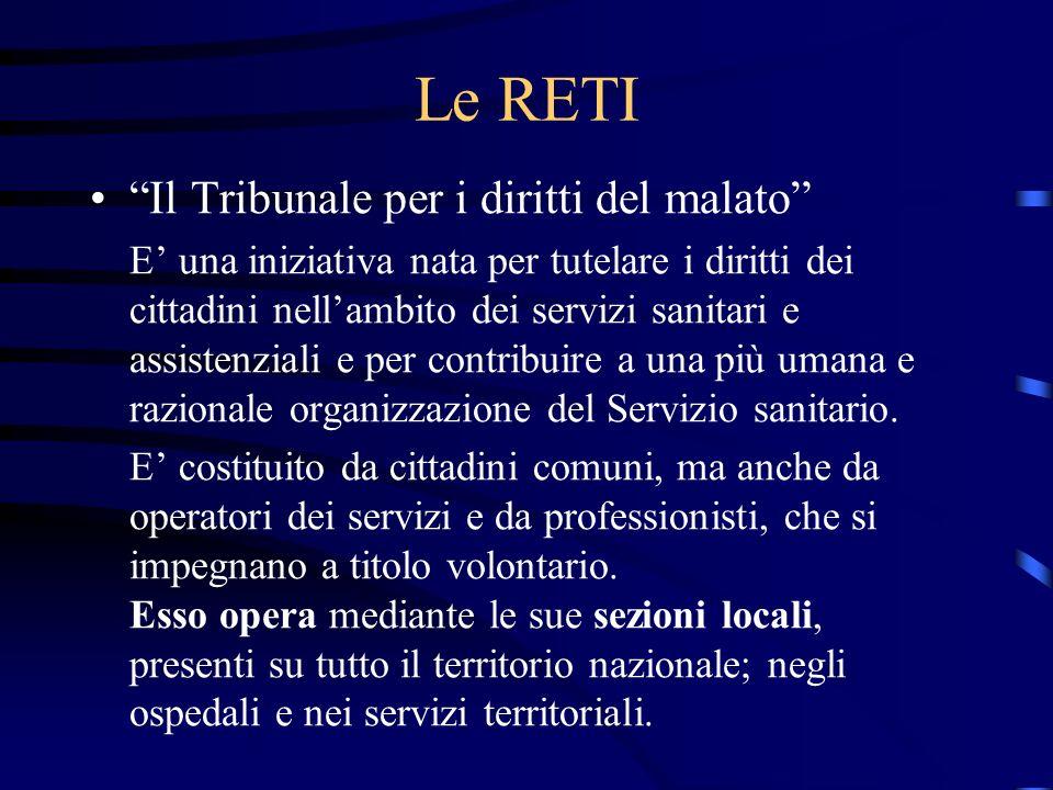 Le RETI Il Tribunale per i diritti del malato E una iniziativa nata per tutelare i diritti dei cittadini nellambito dei servizi sanitari e assistenzia