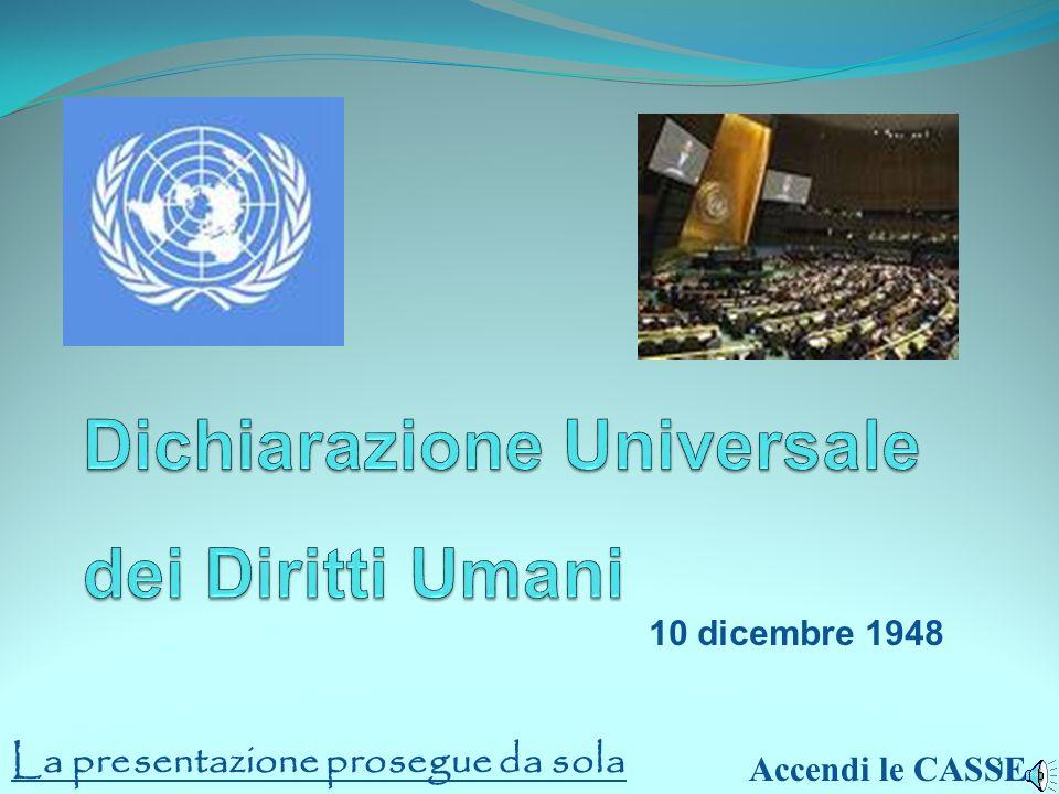 1 1 10 dicembre 1948 Accendi le CASSE La presentazione prosegue da sola