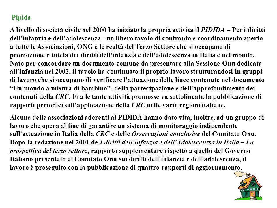 Pipida A livello di società civile nel 2000 ha iniziato la propria attività il PIDIDA – Per i diritti dell infanzia e dell adolescenza - un libero tavolo di confronto e coordinamento aperto a tutte le Associazioni, ONG e le realtà del Terzo Settore che si occupano di promozione e tutela dei diritti dell infanzia e dell adolescenza in Italia e nel mondo.