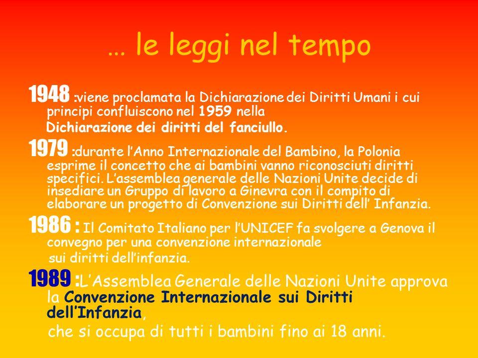 … le leggi nel tempo 1948 : viene proclamata la Dichiarazione dei Diritti Umani i cui principi confluiscono nel 1959 nella Dichiarazione dei diritti d