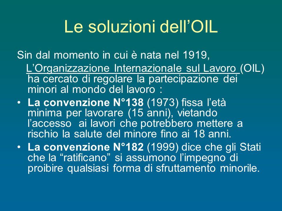 Le soluzioni dellOIL Sin dal momento in cui è nata nel 1919, LOrganizzazione Internazionale sul Lavoro (OIL) ha cercato di regolare la partecipazione