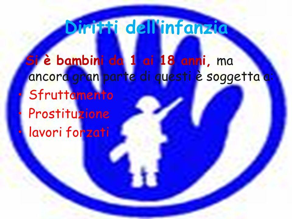 Diritti dellinfanzia Si è bambini da 1 ai 18 anni, ma ancora gran parte di questi è soggetta a: Sfruttamento Prostituzione lavori forzati