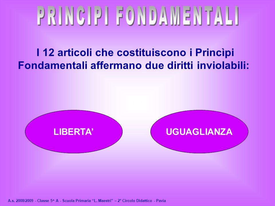 A.s. 2008/2009 - Classe 5^ A - Scuola Primaria L. Maestri – 2° Circolo Didattico - Pavia I 12 articoli che costituiscono i Princìpi Fondamentali affer