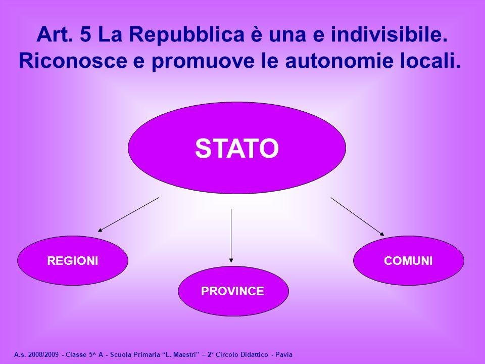 A.s. 2008/2009 - Classe 5^ A - Scuola Primaria L. Maestri – 2° Circolo Didattico - Pavia Art. 5 La Repubblica è una e indivisibile. Riconosce e promuo