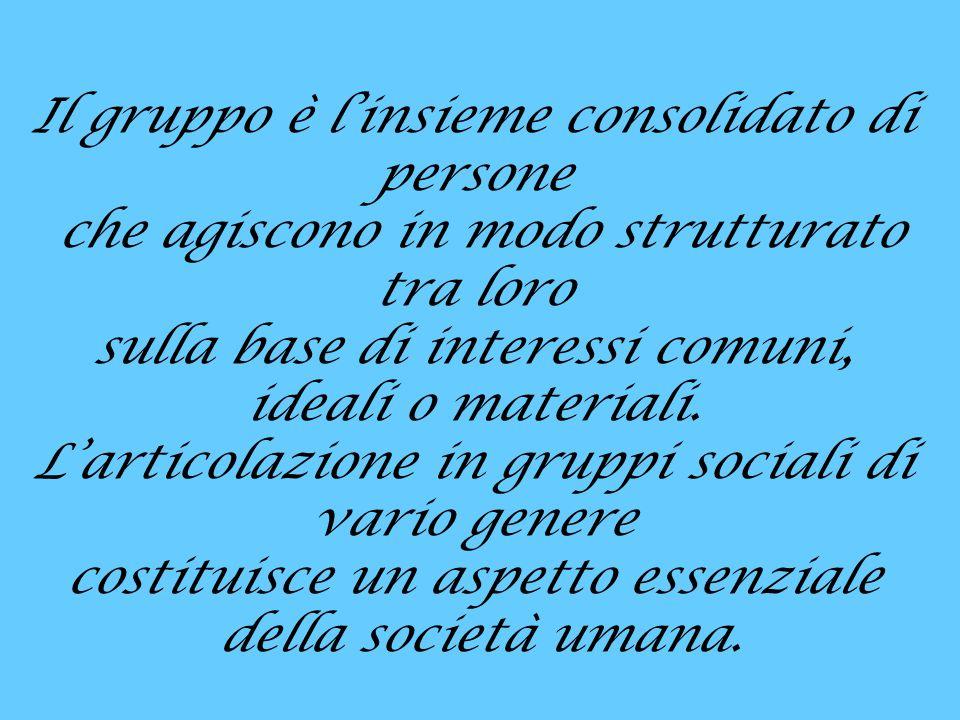 Il gruppo è linsieme consolidato di persone che agiscono in modo strutturato tra loro sulla base di interessi comuni, ideali o materiali.