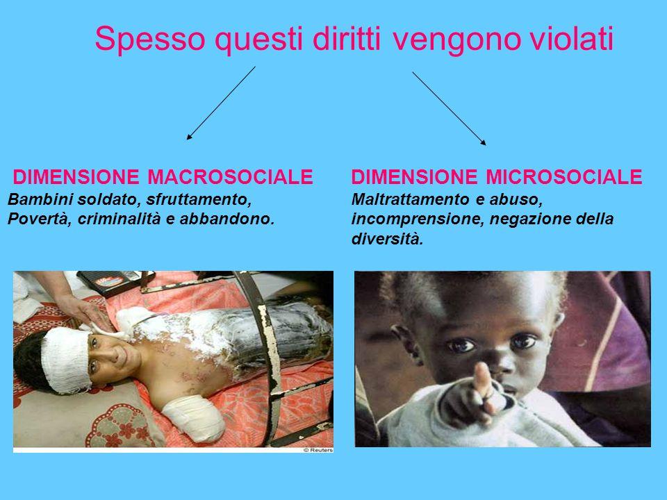 Spesso questi diritti vengono violati DIMENSIONE MACROSOCIALE Bambini soldato, sfruttamento, Povertà, criminalità e abbandono.