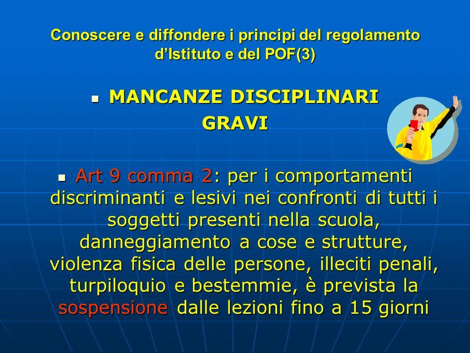 MANCANZE DISCIPLINARI MANCANZE DISCIPLINARIGRAVI Art 9 comma 2: per i comportamenti discriminanti e lesivi nei confronti di tutti i soggetti presenti