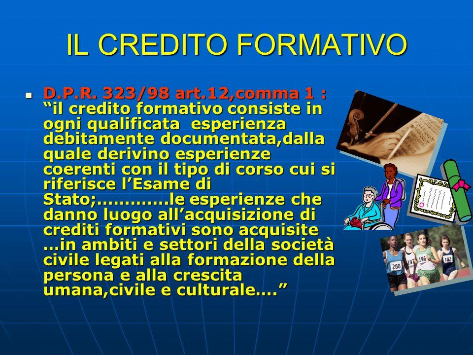 IL CREDITO FORMATIVO D.P.R. 323/98 art.12,comma 1 : il credito formativo consiste in ogni qualificata esperienza debitamente documentata,dalla quale d