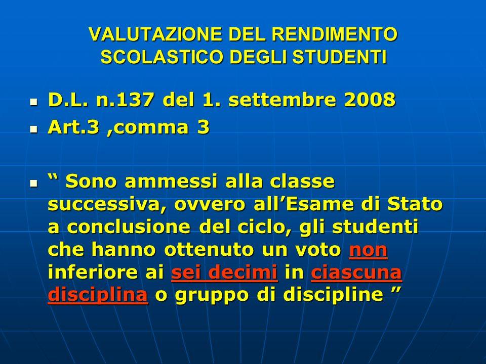 VALUTAZIONE DEL RENDIMENTO SCOLASTICO DEGLI STUDENTI D.L. n.137 del 1. settembre 2008 D.L. n.137 del 1. settembre 2008 Art.3,comma 3 Art.3,comma 3 Son