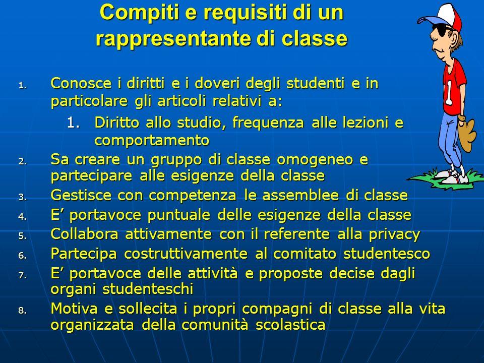 Compiti e requisiti di un rappresentante di classe 1. Conosce i diritti e i doveri degli studenti e in particolare gli articoli relativi a: 1.Diritto