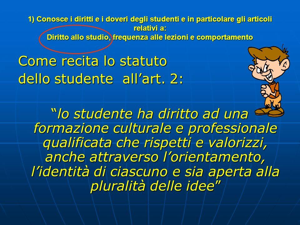 1) Conosce i diritti e i doveri degli studenti e in particolare gli articoli relativi a: Diritto allo studio, frequenza alle lezioni e comportamento C