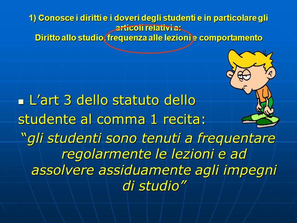 1) Conosce i diritti e i doveri degli studenti e in particolare gli articoli relativi a: Diritto allo studio, frequenza alle lezioni e comportamento L