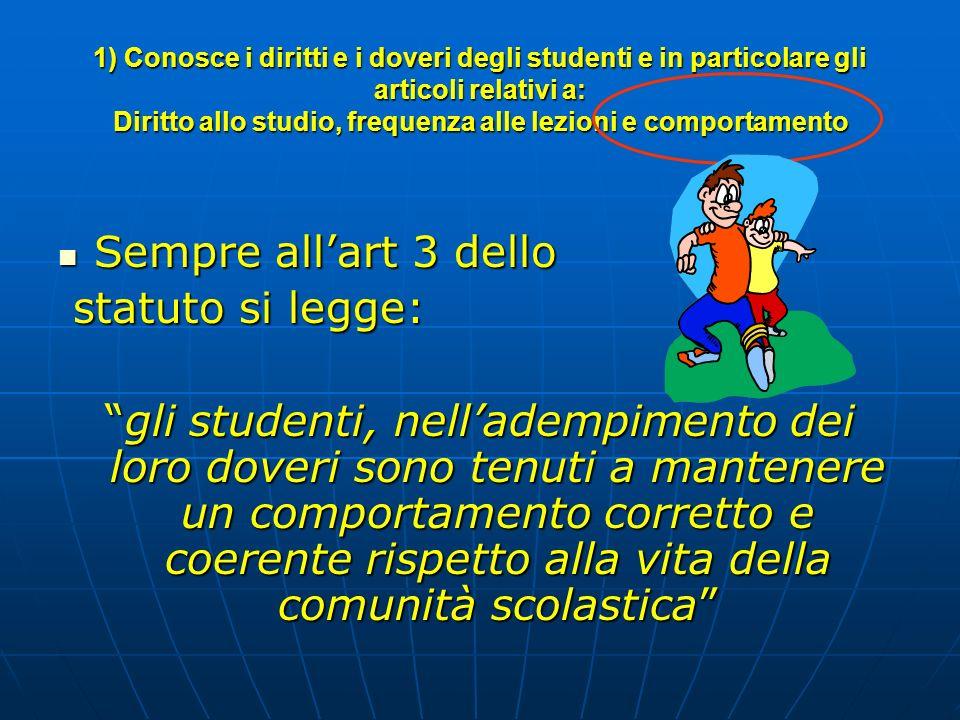 1) Conosce i diritti e i doveri degli studenti e in particolare gli articoli relativi a: Diritto allo studio, frequenza alle lezioni e comportamento S