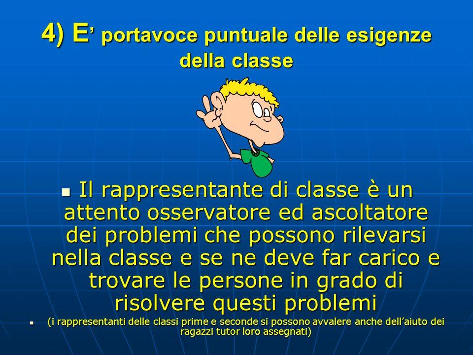 4) E portavoce puntuale delle esigenze della classe Il rappresentante di classe è un attento osservatore ed ascoltatore dei problemi che possono rilev