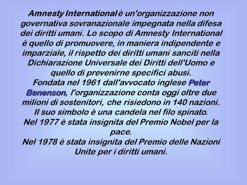 Amnesty International è un'organizzazione non governativa sovranazionale impegnata nella difesa dei diritti umani. Lo scopo di Amnesty International è