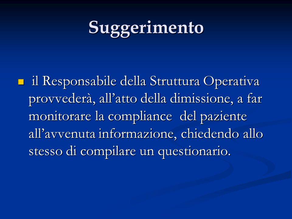 Suggerimento il Responsabile della Struttura Operativa provvederà, allatto della dimissione, a far monitorare la compliance del paziente allavvenuta i