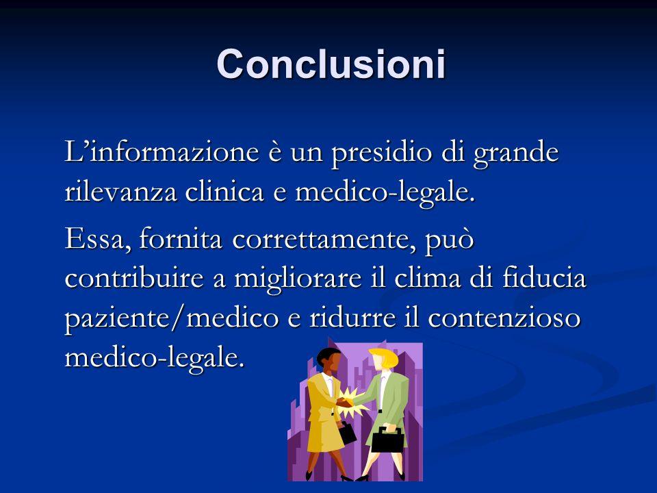 Conclusioni Linformazione è un presidio di grande rilevanza clinica e medico-legale. Linformazione è un presidio di grande rilevanza clinica e medico-