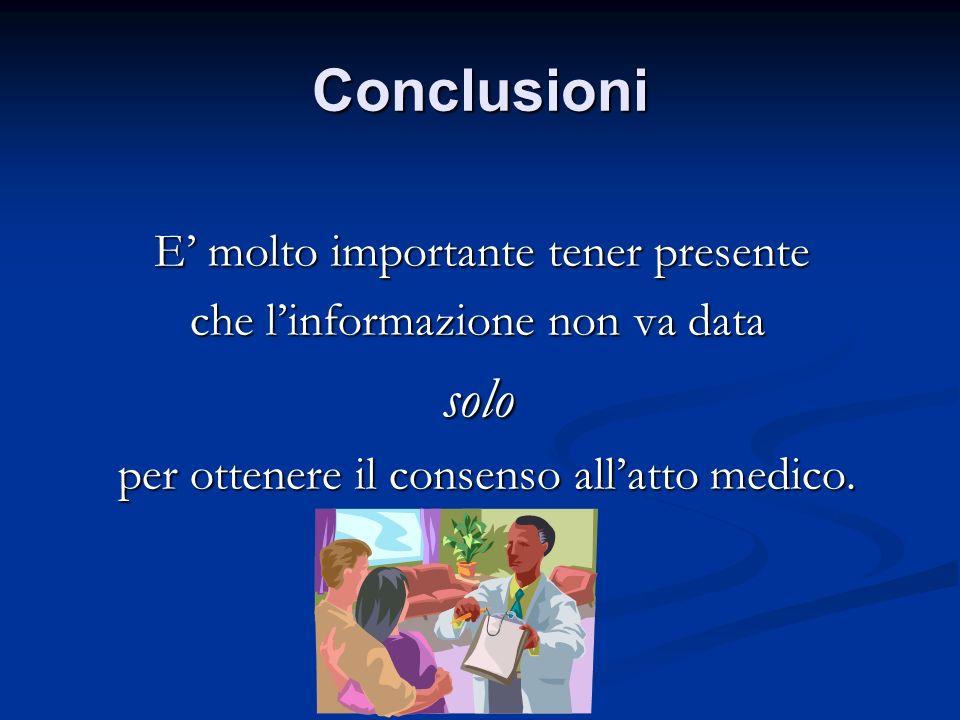 Conclusioni E molto importante tener presente E molto importante tener presente che linformazione non va data che linformazione non va data solo solo