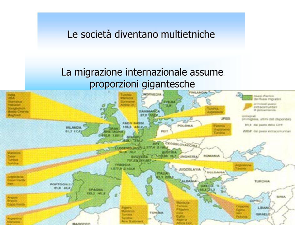 Le società diventano multietniche La migrazione internazionale assume proporzioni gigantesche